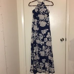 New halter top blue and white floral maxi dress